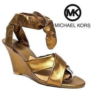 MICHAEL KORS Metallic Crisscross Ankle Wrap Wedge